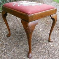 Walnut Framed Upholstered Stool